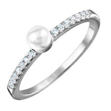 925 STERLING SILVER  RING W/ PEARL & ACCENTS / SZ 5,6,7,8,9 AVAILABLE/STUNNING!!