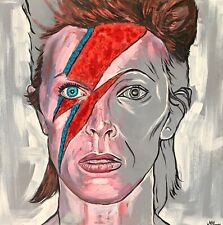 David Bowie  Portrait Original painting, Oil And Glitter  On  Canvas