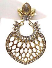 Light Gold Chand Bali Earring Jhumka Fashion Jewelry Boho Drop Dangle Long E52