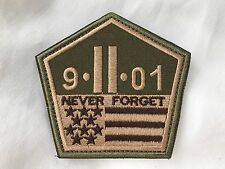 9-11 September 2001 Never Forget Twin Towers Pentagon Shape Flag Patch BROWN