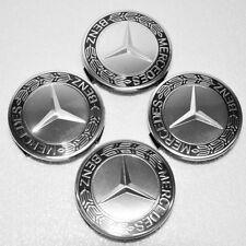 4 Black WHEEL HUB CENTER CAP Caps for Benz² MB A B C E S ML SL GL R 75mm