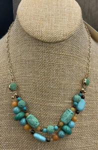Barse Mehndi Lizzy Necklace- Mixed Stones-Bronze-NWT