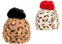 LADIES WOMENS LEOPARD WARM WINTER KNITTED BEANIE SKI BOBBLE HAT HATS CAP
