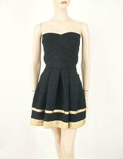 Alythea Full Skirt Tube Dress in Black & Gold Strapless M $98 8828 BM6