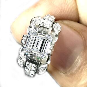 2.53 Ct Vs1>OFF WHITE EMERALD MOISSANITE DIAMOND 925 Sterling SILVER RING SIZE 7