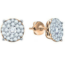 0.50 CT 10K Rose Gold Round Cut Diamond Round Cluster Earrings Look of 1 CT each