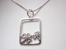 Shamrock Portrait Necklace 925 Sterling Silver Corona Sun Jewelry