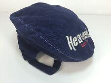 Vtg 70s Lake Tahoe Heavenly Flat Hat Blue Corduroy Embroidered Newsboy Ear Flap