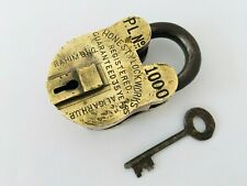 "Old Vintage Brass Lock Solid Heavy Big ""Honesty lock"" Aligarh collectible"