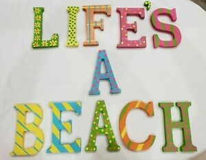 """Life's A Beach Wall Art Sign Wood Letters 7"""" Tall Hand-Painted Pastel Tropical"""