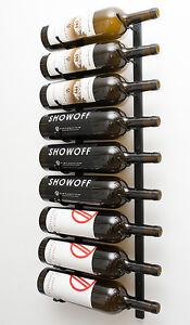 9 Bottle Magnum VintageView® Metal Wall Mounting Wine Rack. Satin Black Finish