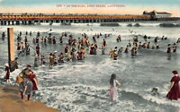 In the Surf, Long Beach, California, Early Postcard, Unused