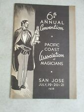 Vintage 1938 6Th Annual Convention Pacific Coast Association Of Magicians Flyer