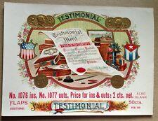 TESTIMONIAL Original Antique Cigar Box Label OL Schwencke Stone Lithograph NY