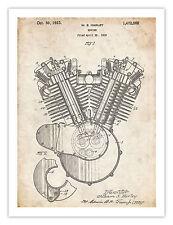 "HARLEY DAVIDSON 1923 MOTORCYCLE ENGINE POSTER Patent Art Print HD 18x24"" GIFT"