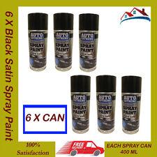 6 X 400ML Black Satin Spray Paint Aerosol Can Auto Extreme Car Van Bike ETC NEW