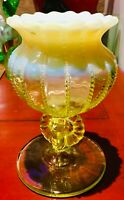Antique NORTHWOOD No. 562 Opalescent Vaseline COMPOTE Vase Candle Holder beaded