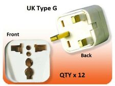 12Pk US USA To UK Ireland UAE British 3 Pin Square Plug Adapter Type G Converter