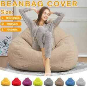 Lazy Beanbag Sofas Cover Chairs Without Filler Linen Cloth Lounger Seat Bean Bag