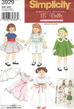 "18"" Doll Vintage Styles Dress Nightgown Coat Hat Clothes Sewing Pattern S 3929"