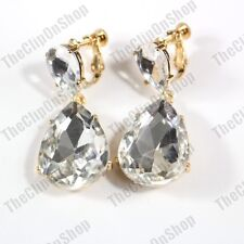 CLIP ON 4cm BIG CRYSTAL DROPS EARRINGS gold fashion AUSTRIAN GLASS RHINESTONE