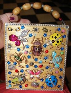 WHAT BUGS YOU Wood Box Purse THATS JUST CRAZY! Handbag Butterfly Beetle USA OOAK