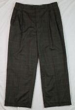 ZANELLA Mens Dress Pants Windowpane Pleated ITALY JESSE Wool Stretch 35x27 Cuff