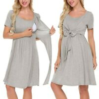 Women Maternity Nursing Baby Nightgown Solid Breastfeeding Loose Sleepwear Dress