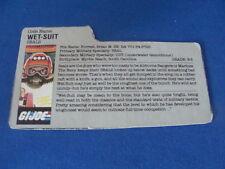 Wet Suit  File Card  GI Joe  1986