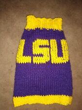 "LSU Purple/Yellow Handmade Knit Dog Sweater 14-16"" (Small). Read Description"
