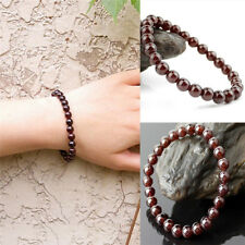 Fashion Pure Natural Garnet Bracelet Jewelry Gemstone Round Beads Bracelet  GT