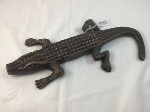 """Decorative Aluminum Alligator Sculpture Copper Finish 14"""""""