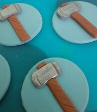 12 x toppers Thor hammer birthday party cupcake cake decorations