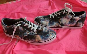 Womens Rare Cosmic Galaxy Blast Vans Off The Wall Lace Up Canvas Shoes 7.5