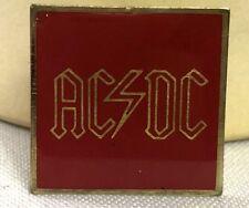 Ac/Dc Pin Rock N Roll Square Vintage Enamel Pinback