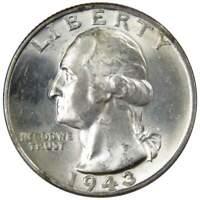 1943 Washington Quarter BU Uncirculated Mint State 90% Silver 25c US Coin