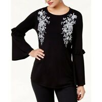 ALFANI NEW Women's Embroidered Bell Sleeves Crewneck Sweater Top TEDO