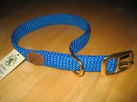 Mendota Double Braided Dog Collar Made in USA Brass Hardware Strong Soft