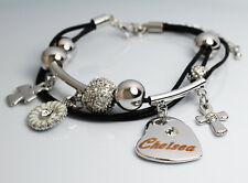Genuine Braided Leather Charm Bracelet With Name - CHELSEA - Gifts for her