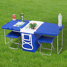 Multi Function Rolling Cooler & Table And 2 Chairs Camping Picnic Outdoor Blue