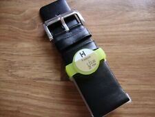 Mens HIRSCH Fashion 30mm L Black Calf Watch Strap, Silvertone Buckle RRP £23