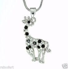 GIRAFFE W Swarovski Crystal Baby Animal Safari Zoo Black Gift Pendant Necklace