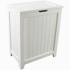 Laundry Hamper With Lid Wood Bathroom Organizer 2 Loads Storage White