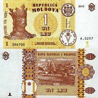 Moldova New 1 Leu Banknote, 2015