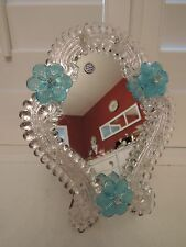 Vintage Venetian Murano Glass Ladies Dresser Mirror Blue Italy