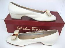 Salvatore Ferragamo Vintage VARA LEATHER BONE Beige HEELS SHOES 7 B