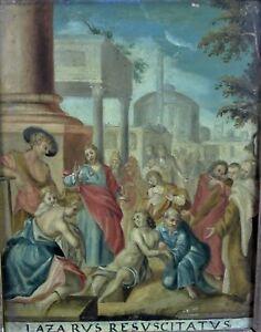 antikes religiöses Gemälde auf KUPFER - LAZARUS RESUSCITATUS - 19. Jhd.