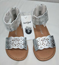 c156352e7513d8 Cat   Jack Dara Two Piece Gladiator Sandals Toddler Girls  Silver sz ...