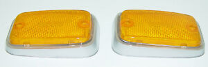 SIDE MARKER FRONT REFLECTOR AMBER W/SILVER TRIM FITS VOLKSWAGEN TYPE2 BUS 70-76