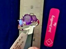GENUINE NATURAL  AMETHYST 925 STERLING SILVER TRILOGY RING 8